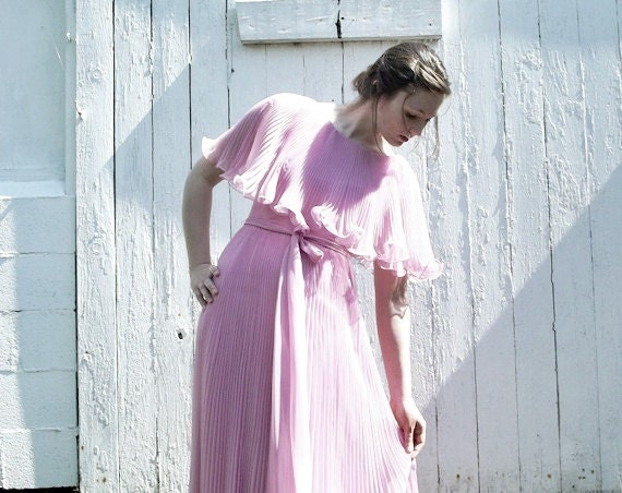 RESERVED For Sher Loh - Vintage Wedding Party Gown 70s Bridesmaid Dress Party Dress Pink Pleated Circle Elegant Formal  Ready to Ship