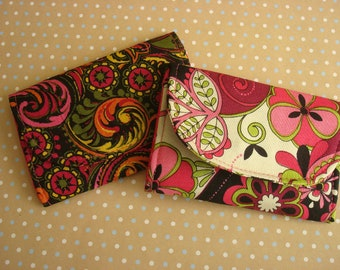 wallet, ID holder, card holder, coin purse, black, pink, green, yellow print