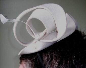 Felted white wedding fascinator hat