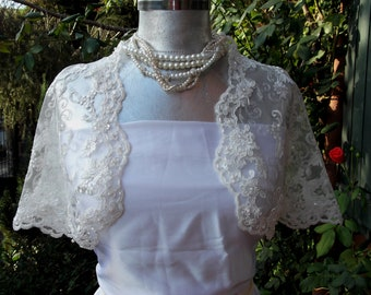 Luxury  Bridal Capelet French Beaded Lace Cape/Shrug