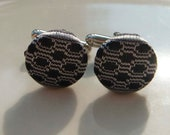 "Silver & Black Silk ""Crown Dot"" Unisex Cufflinks"