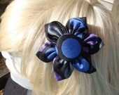 "Black Silk ""Big Circles"" Hair Clip/Pin"