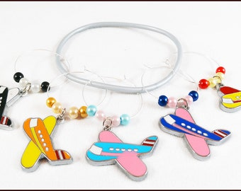 Airplane Wine Charms - Airplane Gifts - Flight Attendant Gifts - Airplane Glass Markers - Travel Gifts - Travel Wine Charms