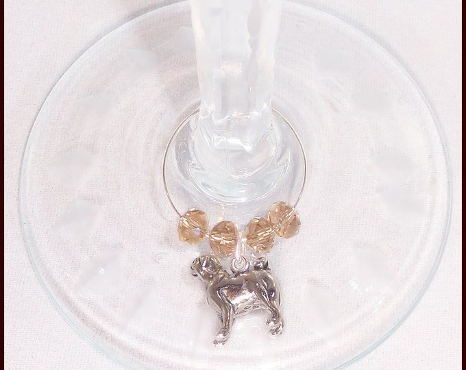 Pug Dog Wine Charms