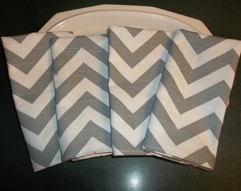 Set of 4 Gray chevron napkins 16x16 all colors are available
