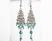 Long Earrings with Crystal Beads, Chainmaille Earrings, Surgical Steel French Hook Earrings, Chandelier Earrings, Emerald Green Earrings