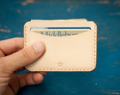 3 Pocket Flat Wallet in natural leather, hand stitched