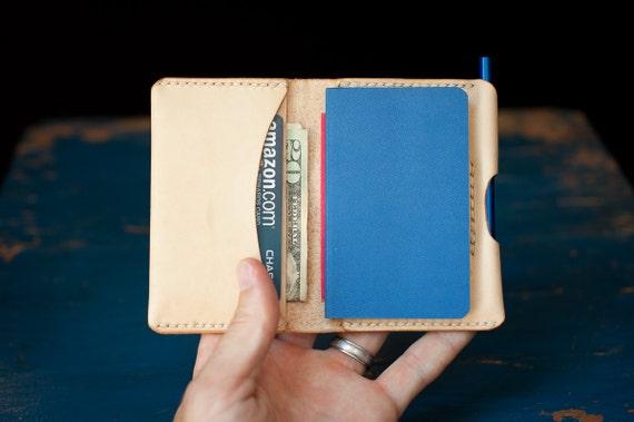 SALE - The Original Park Sloper, Hand Stitched natural leather wallet / Moleskine notebook & pen