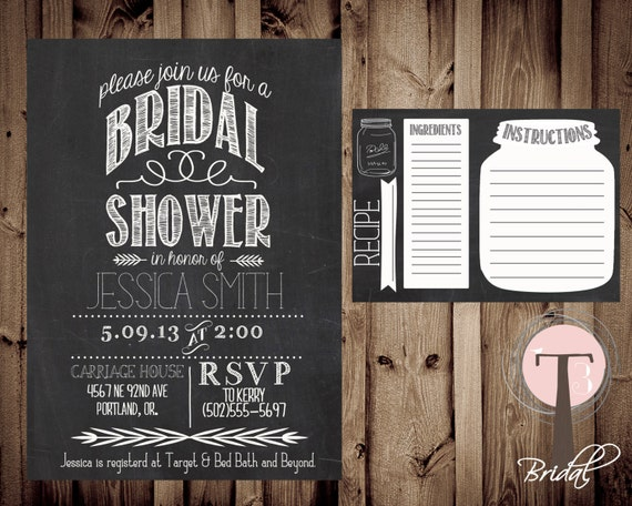 Postcard Wedding Shower Invitations: Printable Bridal Shower Invite & Recipe Card/Bridal By