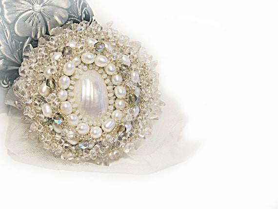 Wedding brooch Beaded pearl crystal white bridal brooch with shell Wedding statement brooch OOAK Israel art