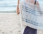 Indigo Deep Blue Printed Eclectic Cotton Scarf, Nautical Shawl Wrap