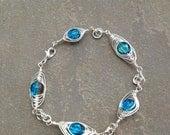 Silver Wire Herringbone Wrapped Blue Crackle Bead Bracelet