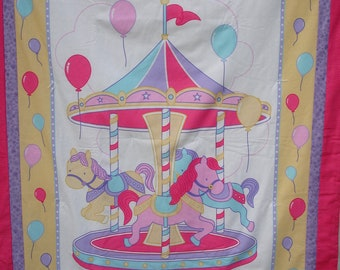 Carousel hand tied baby/toddler quilt blanket