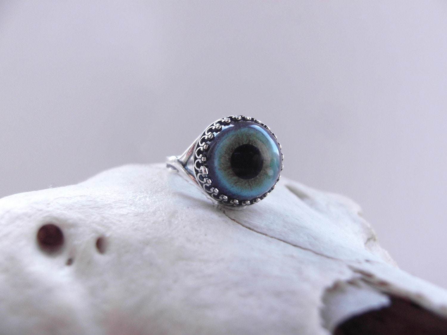 Sterling Silver Intense Blue Glass Taxidermy Eye by ANTIPRISM