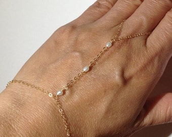 14k Gold Filled Chain Linked Ring Bracelet with Pearls- Hand Jewelry - Hand Flower - Handflower