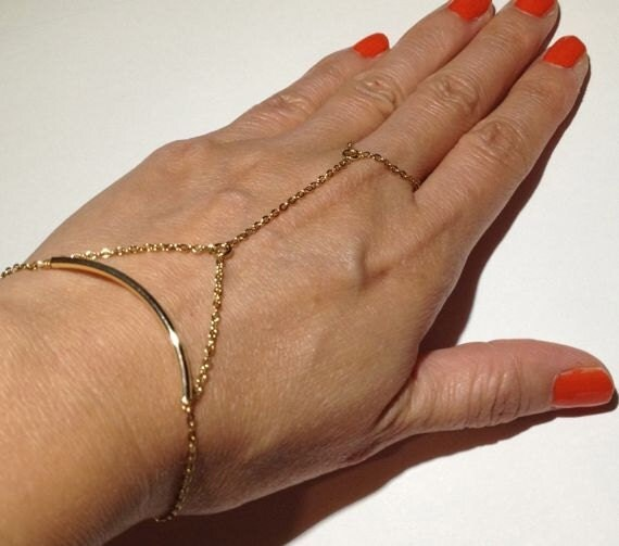 Gold Ring Bracelet Chain Gold Chain Linked Ring