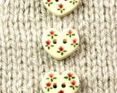 Handpainted ceramic buttons, heart shape w country flower pattern in red and green, x5