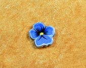 Handpainted blue pansy pin