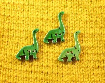 Handpainted ceramic Dinosaur buttons, x 3