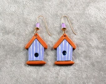 Handpainted ceramic birdhouse earrings