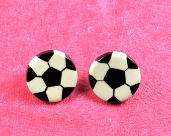Handpainted ceramic Soccer Ball  earrings w silver posts
