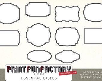 Essential labels clip art INSTANT DOWNLOAD