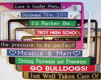 NEW COLORS.  Custom Personalized Metal Professionally Engraved Auto License Plate Frame Cover