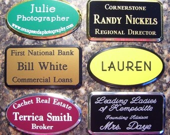 Framed Custom Engraved Name Tags Badge Pin.  25 Colors Plus 3 Frame Colors Large