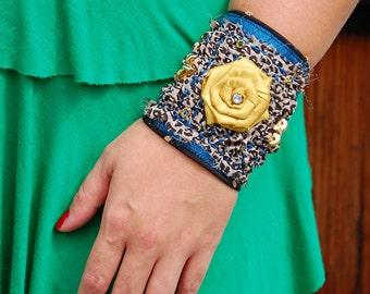 Shabby Chic Boho Fashion Cuff, Leopard Print Fabric Cuff
