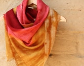 """Hand dye-painted merino wool scarf: raspberry red, pink, honey, """"Raspberry sunrise"""""""