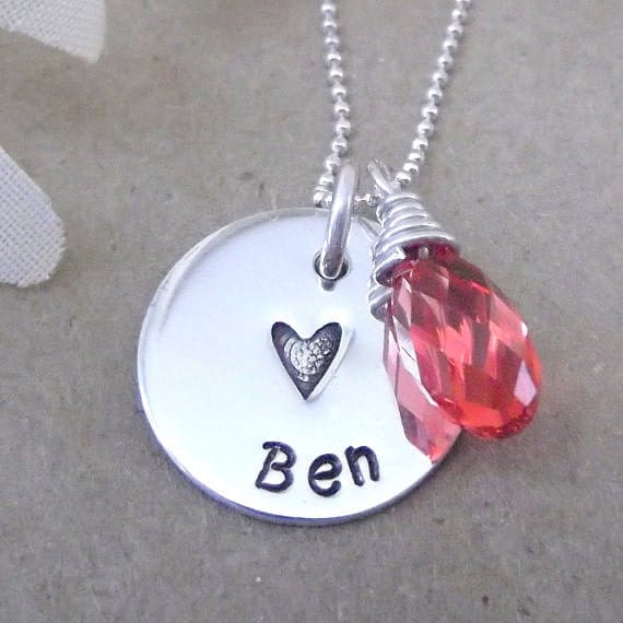 Personalized New Mom Necklace- Mommy Tag Jewelry- Hand Stamped Mother Jewelry- Mommy Necklace-