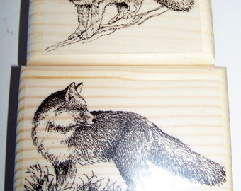 Lot of 2 Brand New Mounted Rubber Stamps - FOXES FOX ANIMAL