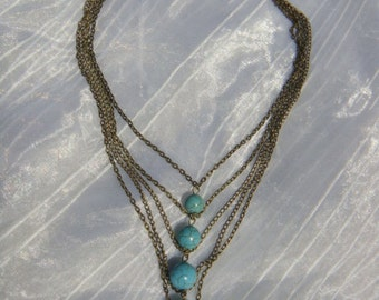 BEST SELLING & Free Ship French Runway Inspired 5 Strands Vintage Brass Chain Necklace with Turquoise Beads Layered Pendant