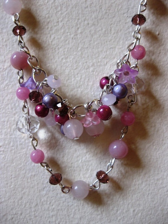 Pink gemstone, crystal beaded necklace silver plated