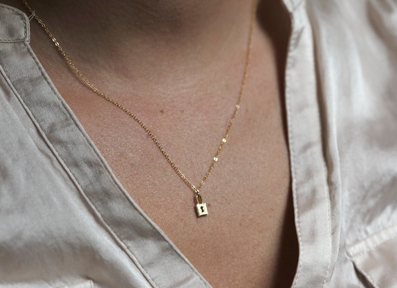 Lock Necklace Dainty Necklace Everyday Necklace Luck