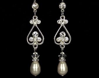 "Wedding, bridal jewelry, pearl and rhinestone earrings, Swarovski, silver, ""Embrace"" earrings"
