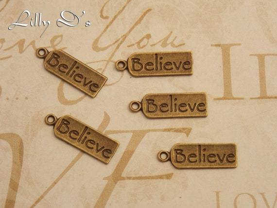 "30- Antique Bronze English Word "" Believe"" Charms & Pendants. 22x7x1mm-2mmhole"