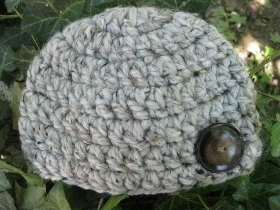 Crochet Chunky Gray Yarn with a Brown Button Hat / Cloche  - Photo Prop Or Everyday Wear