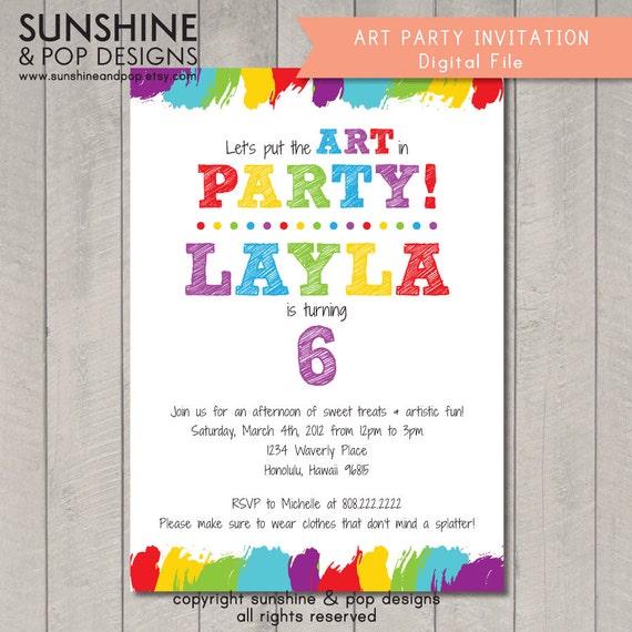 Items Similar To Printable Art Party Invitation