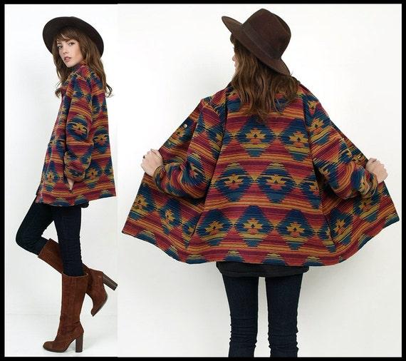 SouthWestern TRIBAL Ethnic Woven Indian Blanket Oversized Jacket Coat 80's 90's M/L