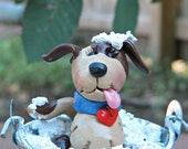 Wash day sudsy puppy in a pail polmer clay dog bucket