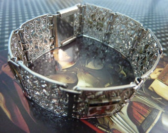 VINTAGE FRENCH CANNES  Silver Plated Souvenir Filagree Cuff Bracelet