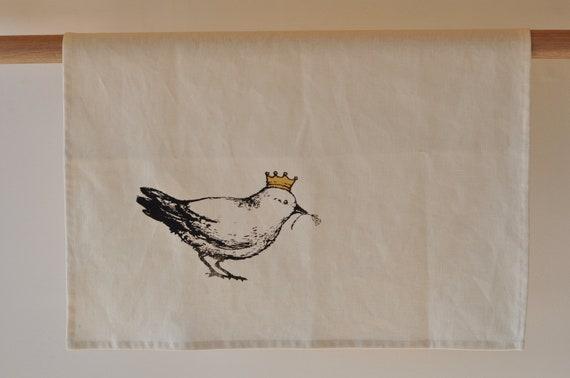 tea  towel - crown flora bird