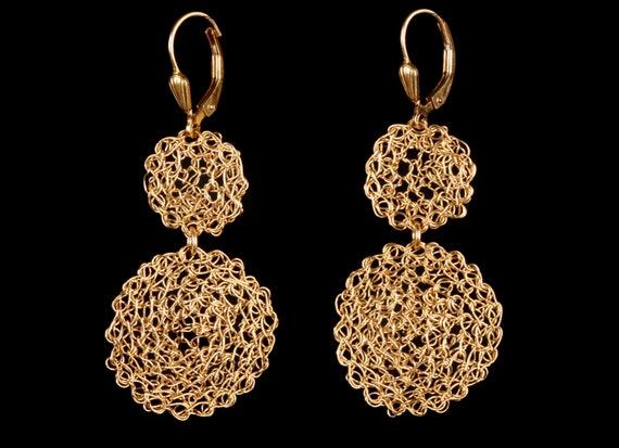FREE SHIPPING-14K Round Gold-filled Earrings fine jewelry, Unique jewelry, Elegant Earrings, bridal earrings, High Fashion Earrings