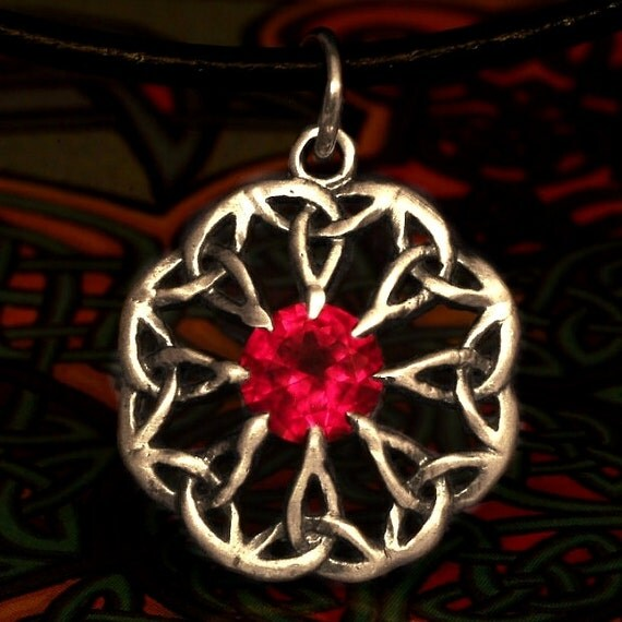 Celtic Sterling Silver Ruby Pendant Trinity Interweave Knot on Chain or Leather Cord CP-133R