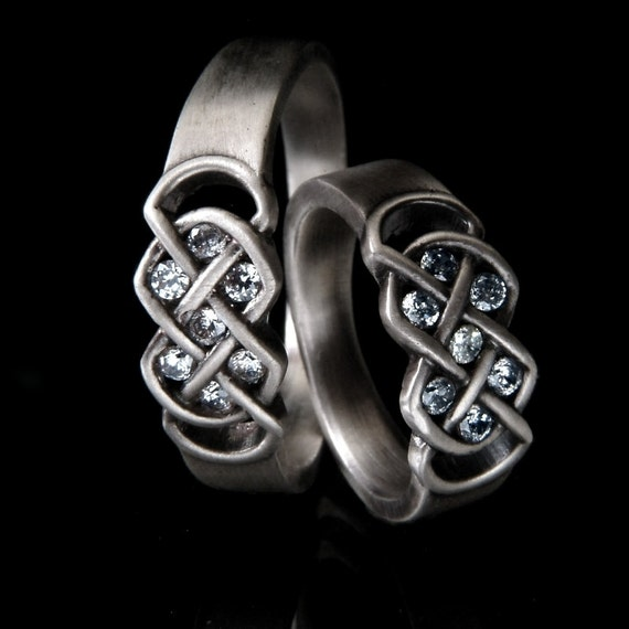 Celtic White Sapphire Wedding Ring Set With Infinity Knot Design in Sterling Silver, Made in Your Size CR-771