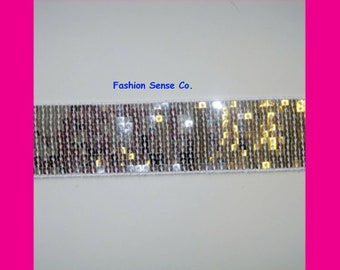 15 yards spangle sequins ribbon trim banding tape clothing costume trimming SILVER