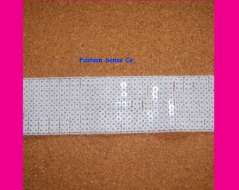 5 yards spangle sequins ribbon trim banding tape clothing costume trimming WHITE
