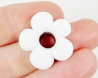 6 Large Chunky Artisan Handmade White Glass Flower Beads - 13mm - BE119