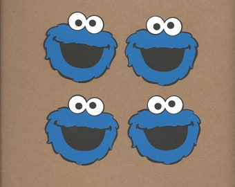 4- 2.5 inch tall Cookie Monster faces cricut, die cuts
